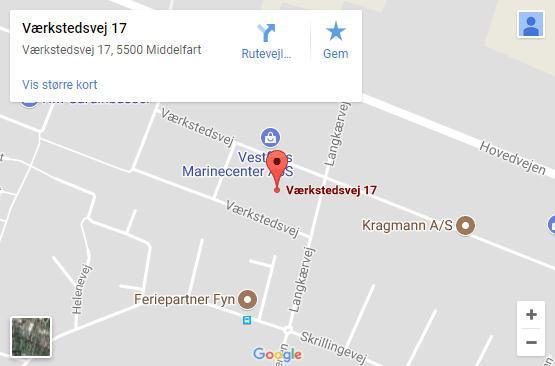 Google maps billede der viser placering af Niels E. Jensen - autoriseret installatør